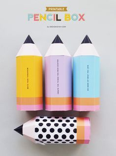 Freebie // Colourful Printable Quote Pencil Boxes, perfect download for stationery addicts. Keep these on your workspace filled with your pens and pencils