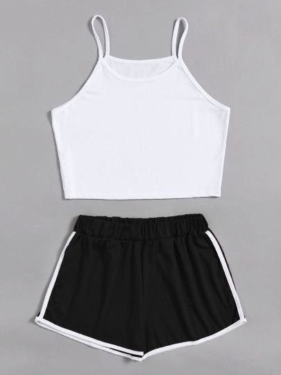 Crop Cami Top With Contrast Trim ShortsFor Women-romwe
