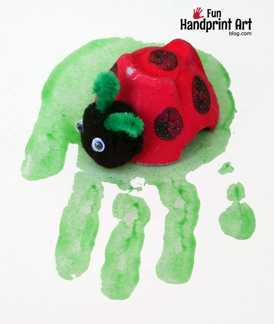 Handprint egg carton Ladybug Craft for Kids