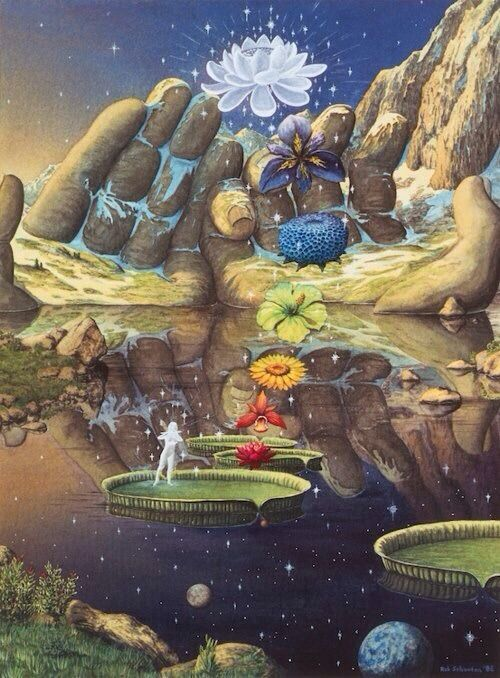 Into The Astral We Go, chakra stepping stones, giants giving hands, lotus flower, pond, lake