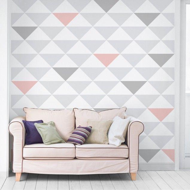 Vliestapeten Premium   Dreiecke Grau Weiß Rosa   Fototapete Quadrat