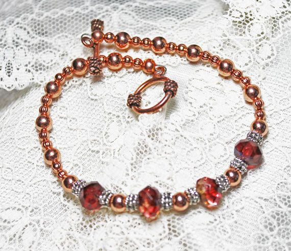 Bracelet Copper and Silver with Deep Pink and by SeventhChild, $28.00