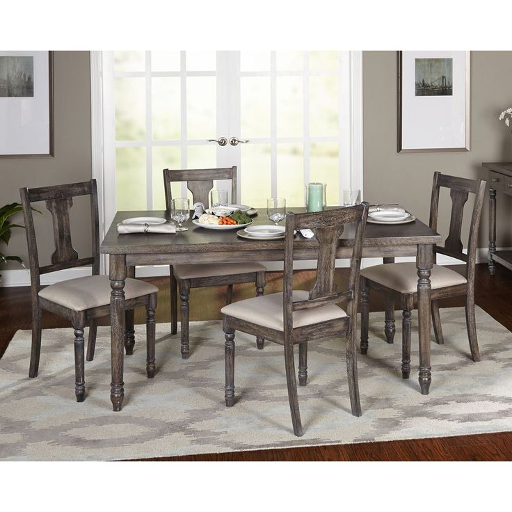 Simple living 5 piece burntwood dining set overstock for Decor 7 piece lunch set
