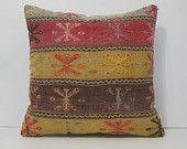 24x24 couch throw pillow DECOLIC tapis vintage kissenbezug 60x60 kissenhüllen kissen 60x60 unique throw pillow yellow red 13942 kilim pillow