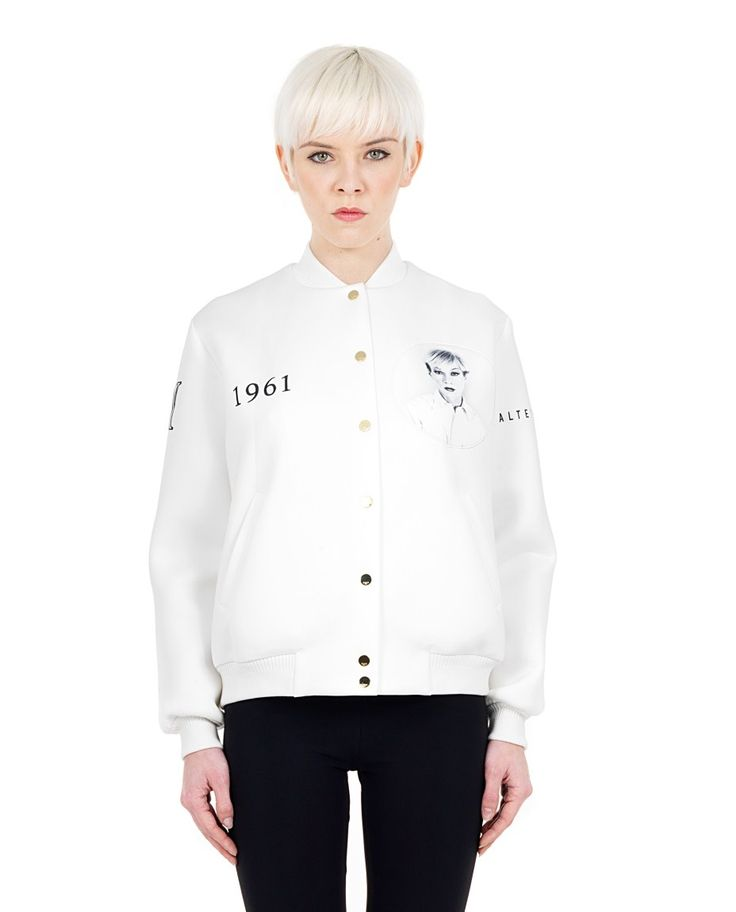 PORTS 1961 white lined bomber  neoprene  mandarin collar  long sleeves  two side pockets  closure in front with gold buttons  87% PL 13% Spandex 81% CO 17.5% PA 1.5% Spandex  Lining: 93% SE 7% Spandex