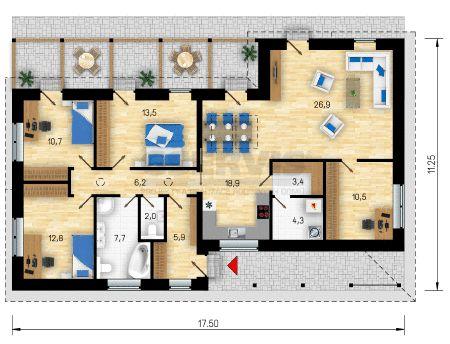 Projekt bungalovu Vicenza - půdorys přízemí