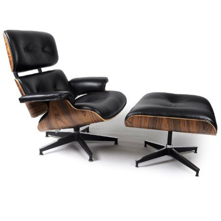 1099 kardiel eames style plywood lounge chair ottoman black aniline palisander. Black Bedroom Furniture Sets. Home Design Ideas
