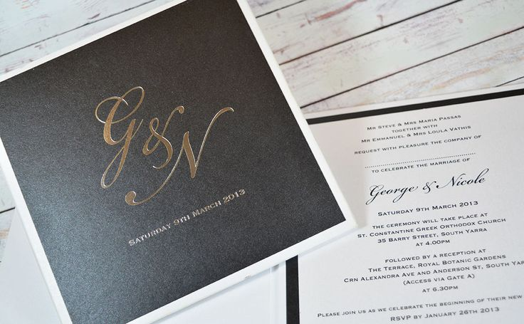 Foiling has become very popular for wedding invites. Add a touch of glamour with silver or gold foil, or select one of our many foil colours!