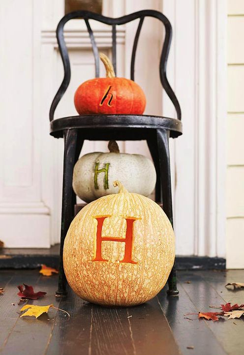 boxwood clippings_stacked pumpkins: Fall Decor, Monogrammed Pumpkins, Decorating Ideas, Holidays, Monograms, Monogram Pumpkins, Halloween