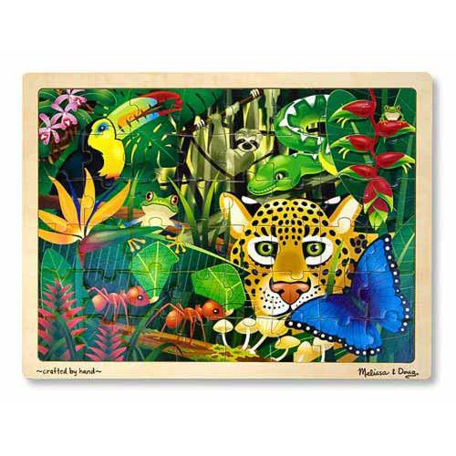How many animals can you spot?  The beautiful colours and detail in this wooden jigsaw puzzle will have you mesmerised while trying to find all of the animals in the picture. 	This wooden, 48 piece jigsaw puzzle comes packaged in a sturdy, wooden tray for puzzle building and easy storage.