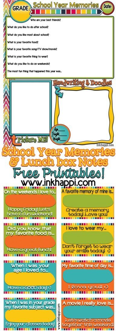 Printable School Memories and Lunchbox Notes | TodaysCreativeBlog.net by lee