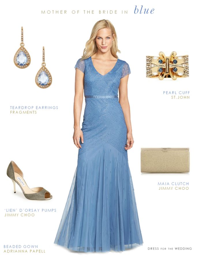 Blue Beaded Gown For The Mother Of Bride
