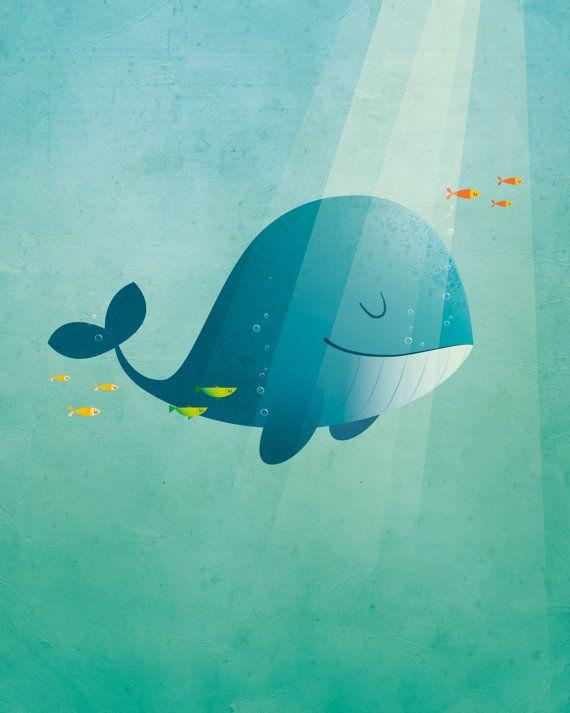 Stampa artistica di scuola materna  originale della balena