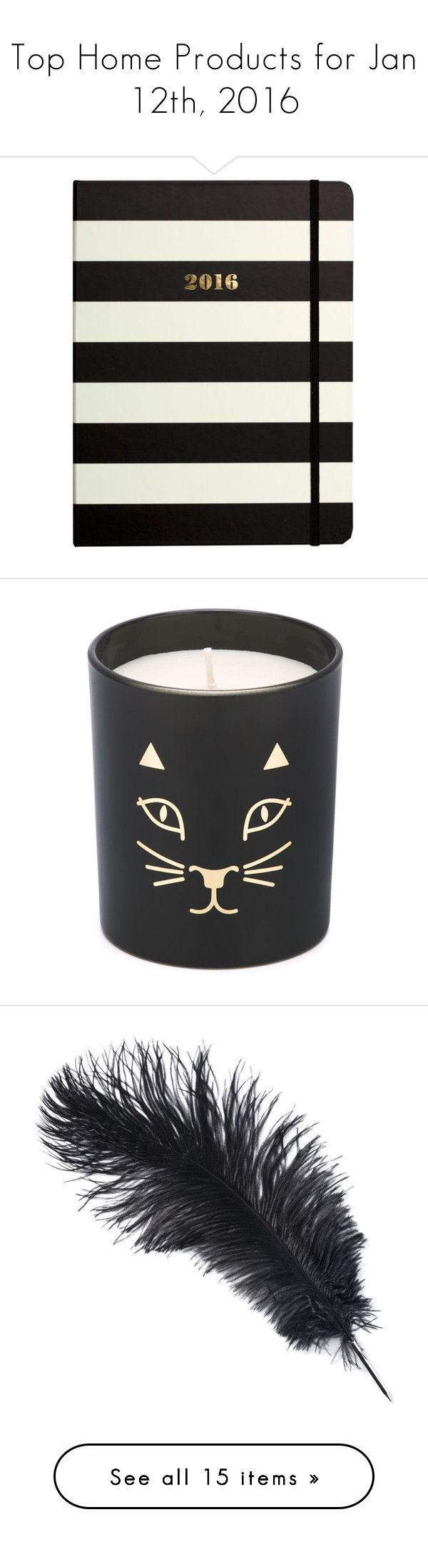"""""""Top Home Products for Jan 12th, 2016"""" by polyvore ❤ liked on Polyvore featuring home, home decor, stationery, black stripe, candles & candleholders, fillers, candles, black, cat candle and cat home decor"""