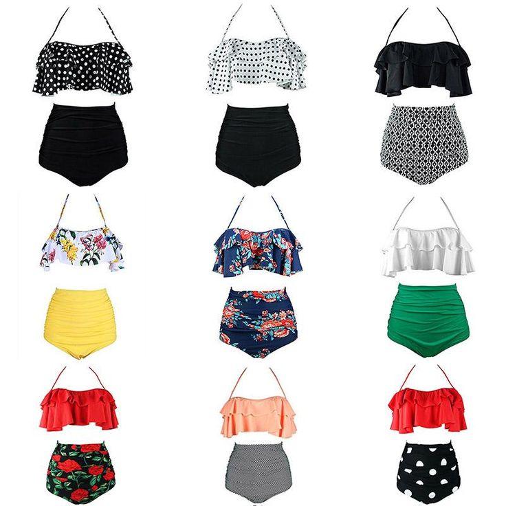 2019 New Bikinis Women Swimsuit High Waist Bathing Suit Plus Size Swimwear Push Up Bikini Set Vintage Beach Wear Biquini – 04 S
