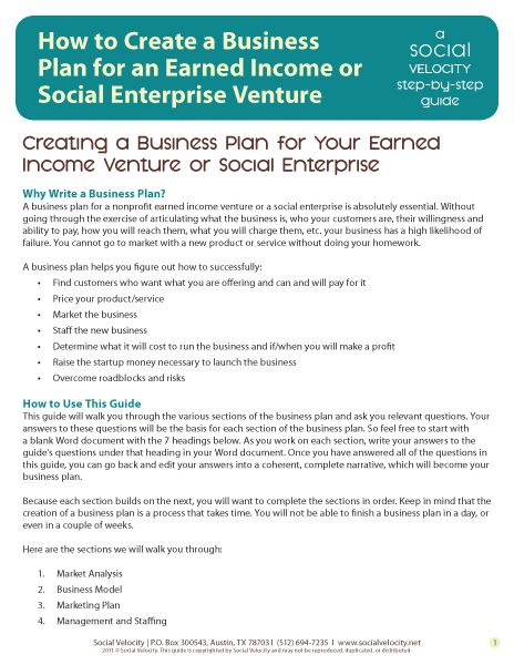 Business Plans and Planning for Social Enterprises and Nonprofits