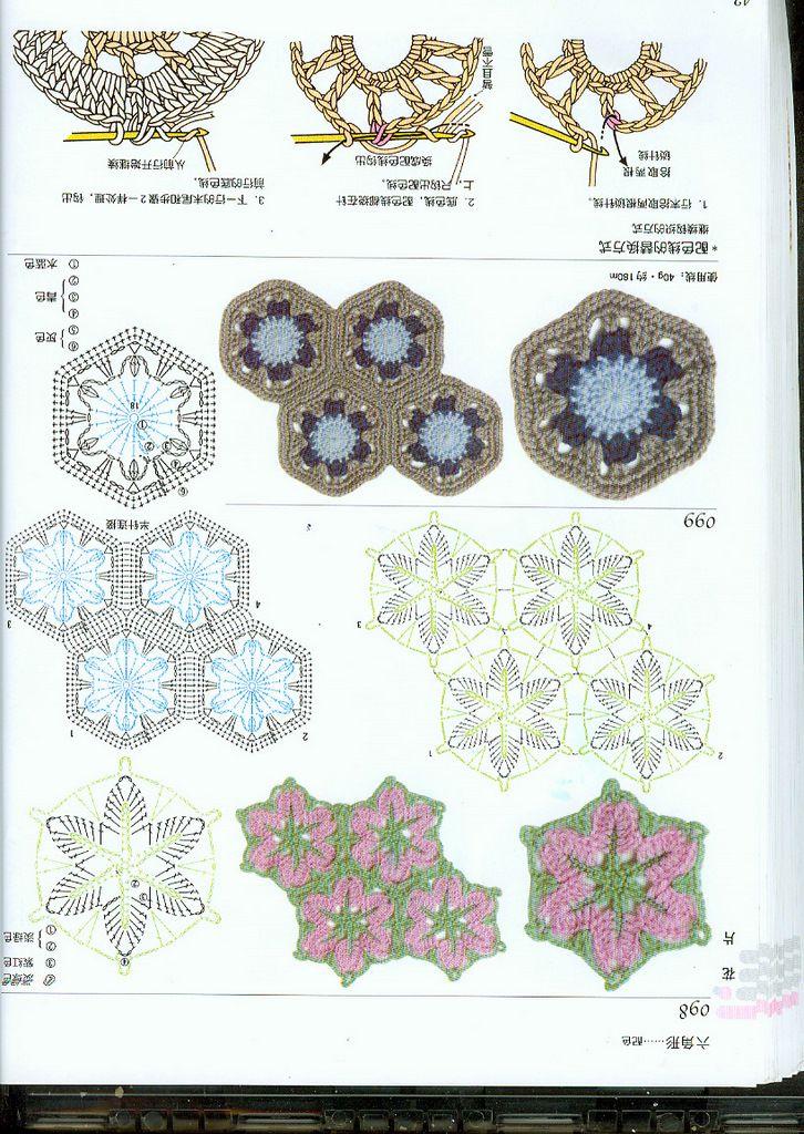 Excepcional Patrones Hexagonales Con Motivos De Crochet Libre ...