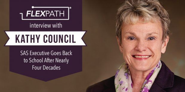 """""""The program couldn't be more perfect for me."""" Kathy Council, a vice president at SAS, shares why FlexPath has been a perfect fit for her and her employer."""