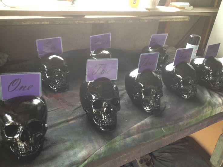 Skull wedding table numbers  - Kreepy Kulture