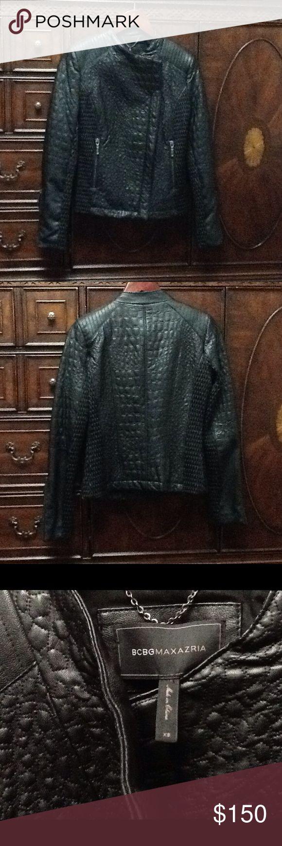 BCBG MAXAZRIA Moto Jacket Faux leather collarless moto jacket with asymmetric closure. BCBGMaxAzria Jackets & Coats