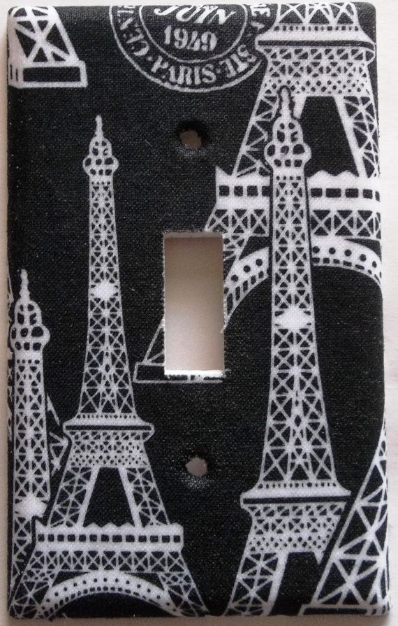 Black White Eiffel Tower Paris Girls Bedroom Bathroom Single Toggle Light Switch Plate Cover Wall Home Decor Decorative on Etsy, $3.99