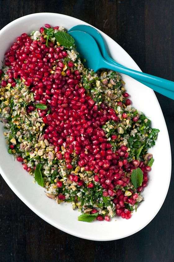 Fall Tabbouleh with pomegranate, feta, and pistachios | I would leave out the mint as I hate mint in savory things, but now that my parsley plant is going strong this would be so doable!