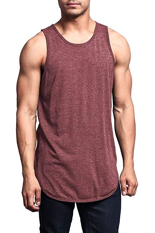57b7929eb84f7 Victorious Solid Color Long Length Curved Hem Tank Top at Amazon Men s  Clothing store