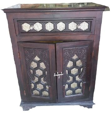 Consigned - Moroccan Wood Cabinet craftsman-accent-chests-and-cabinets