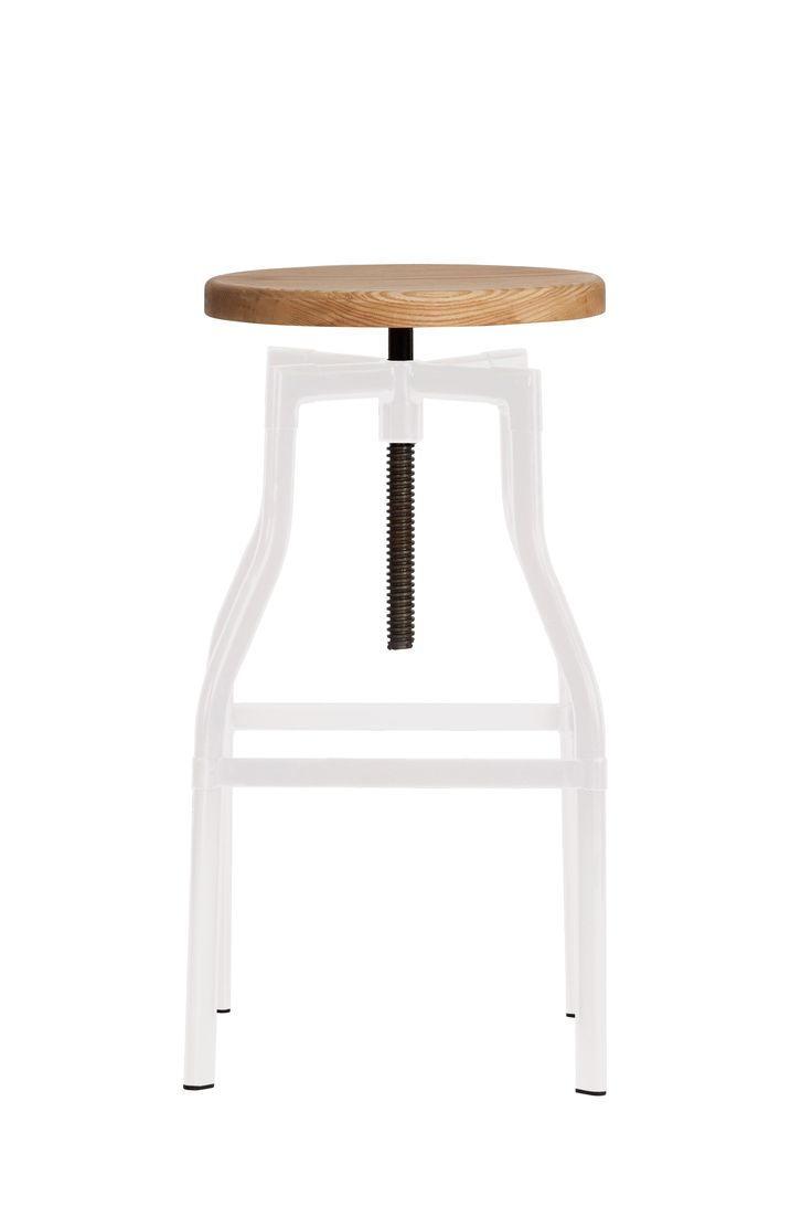 Replica Turner Industrial Bar Stool Large - White -- This chic Industrial Turner bar stool is based on classic 1930's French Design. This fabulous stool is perfect for those with a vintage inspired decor, or to create an industrial look. This Replica Turner Industrial Stool in a larger height maintains that minimal style with a rustic height adjustment function that is used by turning the seat to screw the seat up and down. The wooden seat can be adjusted from 64cm to a maximum 83cm high…