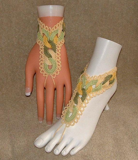 Free Adult Barefoot Sandal Patterns | Crochet Barefoot Sandals / Slave Bracelets / Lemon Lime Heavenly ...
