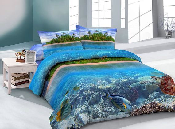 Ocean decor cloud bedding sets duvet cover ocean blue bed sheets with two matching ocean pillow covers