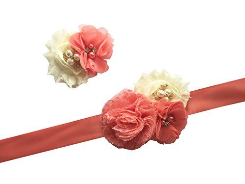 Lemandy Handmade a Pair of Flowergirls Sash and Headwear…