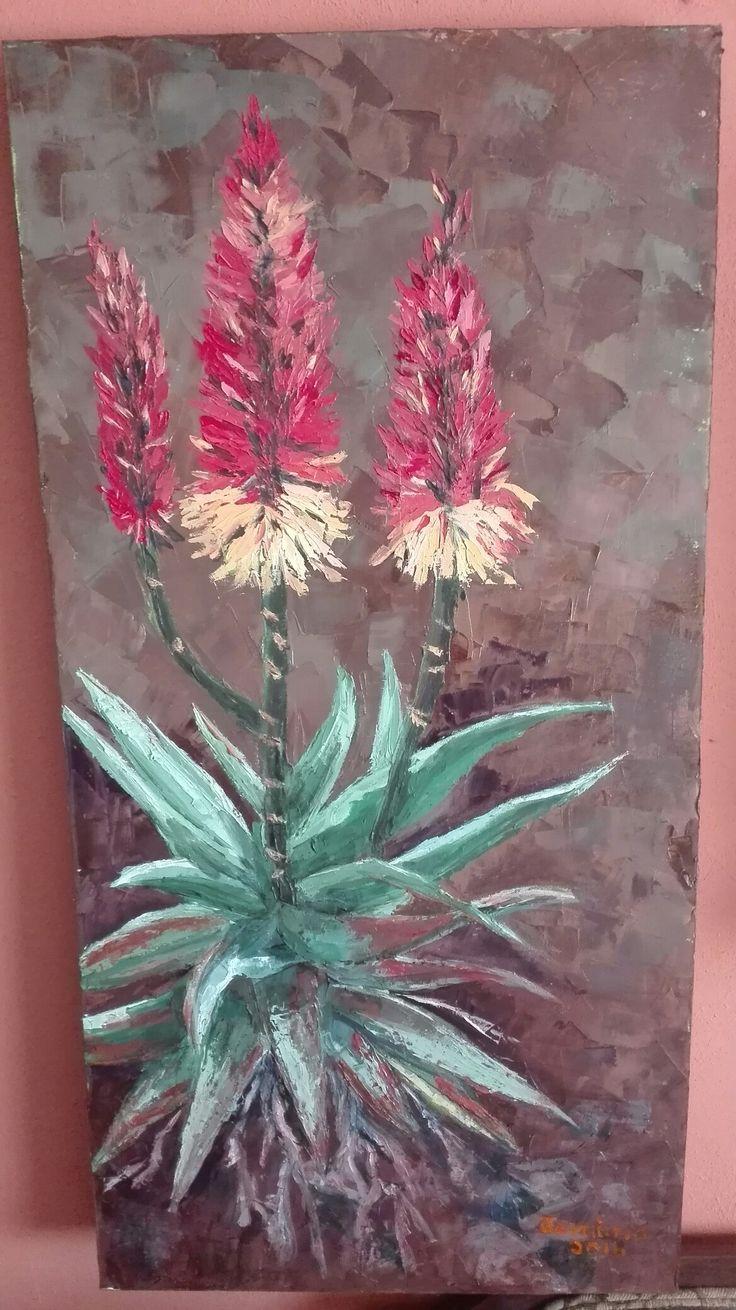 Aloe plant with orange flowers. Jemima's oil painting.