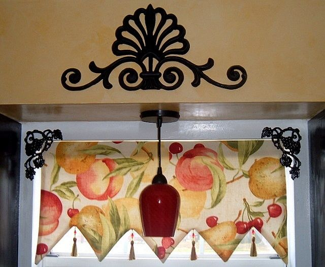 fabric kitchen valances kitchen window valance fruit fabric dim did it myself for the. Black Bedroom Furniture Sets. Home Design Ideas