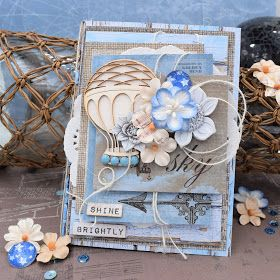 ScrapBerry's: Wonderful  Antique Shop card made by Lydia Guijt with lots of pretty details and an hot-air balloon.