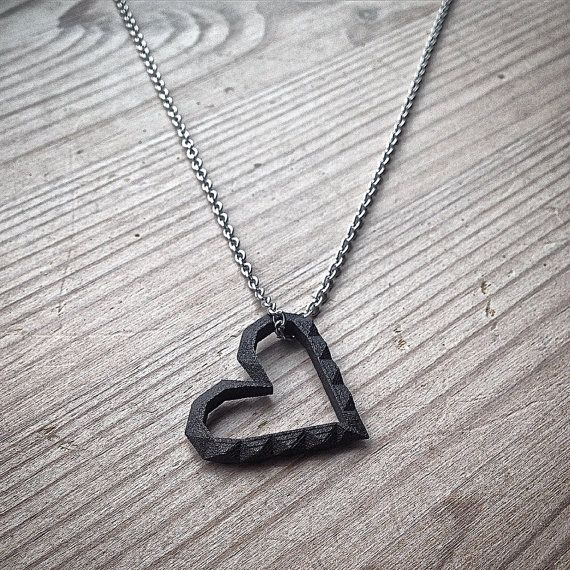 Geometric matte black heart pendant necklace by MBDdesign on Etsy