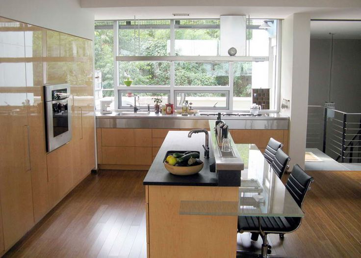 Nice Floating Glass House In Unbelievable Appearance: Gorgeous Kitchen Design  With Wooden Floor Design Glossy Wooden Cabinet Door At Emerald Art . Part 21