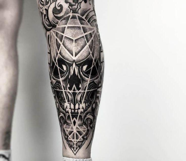 Dotwork Skull tattoo by Otheser Tattoo