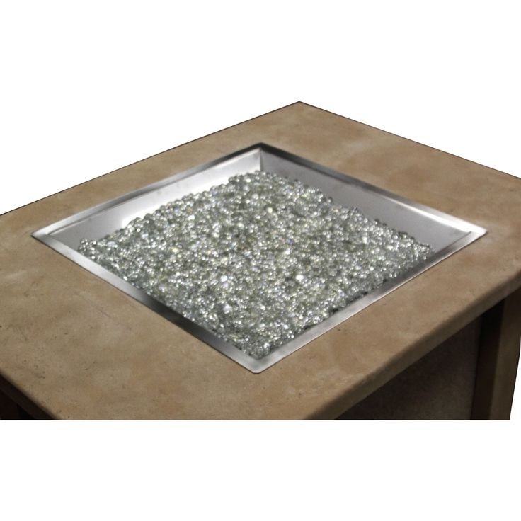 Appealing Gas Fire Pit Table with Square Shape and Grey Sand Details for Outdoor Area