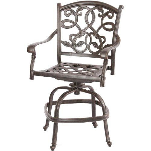 Heritage Outdoor Living Santa Monica Cast Aluminum Bar stool Counter Height  Antique Bronze ** Click image to review more details.
