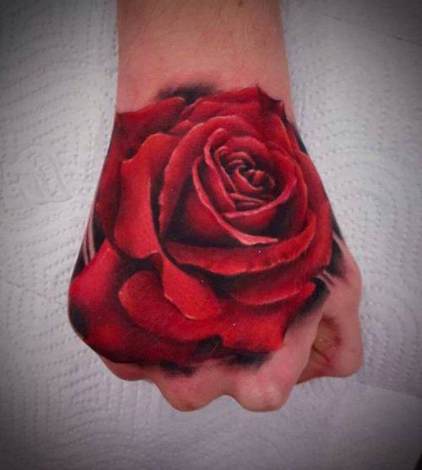 3D Rose Tattoo on Hand - 45  Eye-Catching Tattoos on Hand  <3 <3