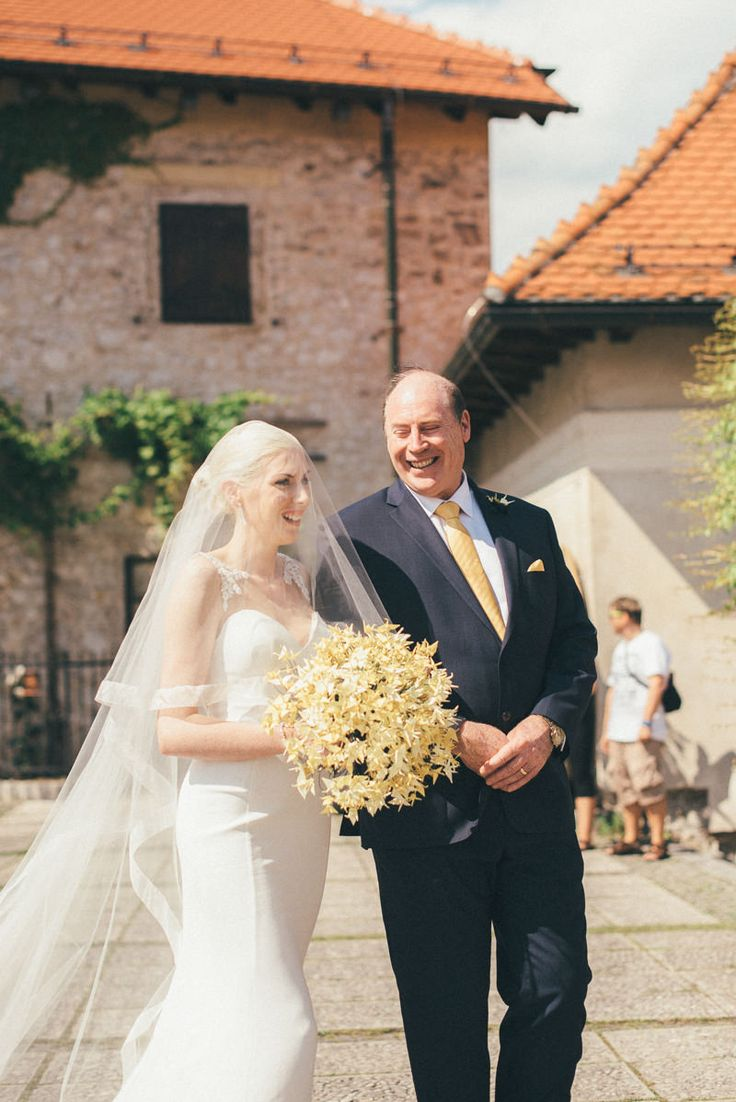 Bride escorted by father