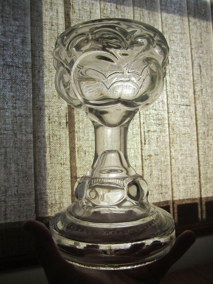 Antique Clear Glass Peanut Pattern Oil Kerosene Lamp 2