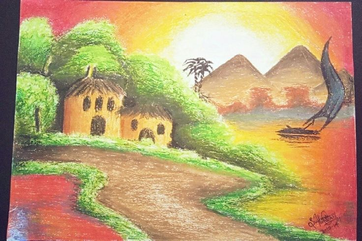 Oil pastels just work magically.  Specially with the sunrise/sunset effect  03.10.2014