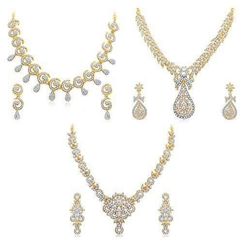 Sukkhi Glimmery 3 Pieces Necklace Sets Combo has wonderful look and is perfect for casual wear It includes 3 Necklace Sets. Embellished with Australian Diamond, it gives a rich appeal. You can wear this set together or individually on western as well as traditional attire. This value-for-money combo is a smart choice. Stone: Australian Diamond