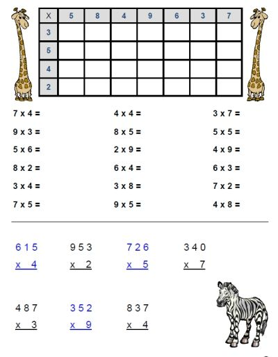 free multiplication worksheet packet focusing on 3s and 4s easy to download at fransfreebies. Black Bedroom Furniture Sets. Home Design Ideas