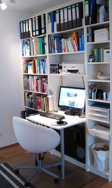 Billy Bookcase Desk from Ikea Hackers, might would work well for the spare room.