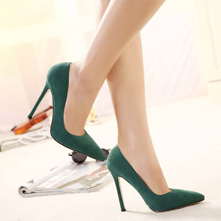 2015 New Hot troupeau pompes simples bout pointu femmes chaussures vert  rouge noir rose mince talon