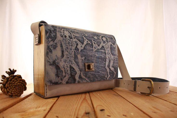 Gray Wood Leather Bag Custom | Anient Aliens Bag | Women's bag | Shoulder Bag | Leather Purse | Cave Drawing  Wood Leather Bag | Wood Purse