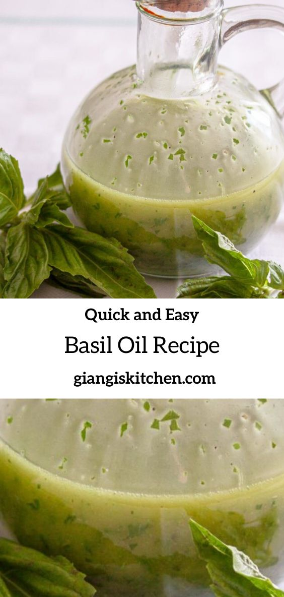 Basil Oil. A very easy recipe full of flavor and perfect with fish, chicken and beef. I made a full cup of it and keep i…